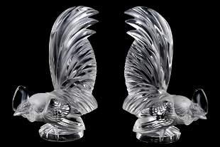 """Pair, Lalique """"Coq Nain"""" Car Mascot Sculptures"""