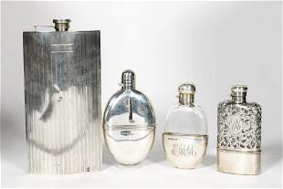 Four Sterling Silver Flasks, English and  American
