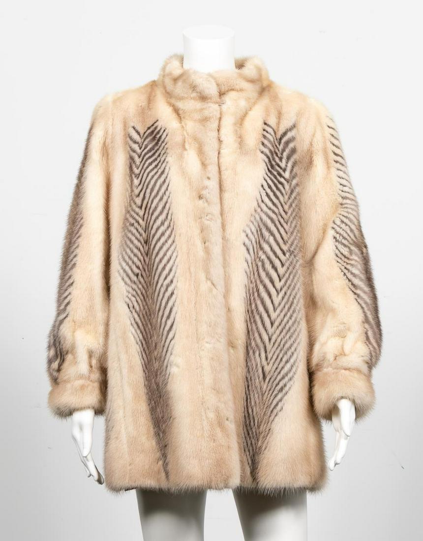 Ladies Blonde Mink and Striped Fox Short Fur Coat