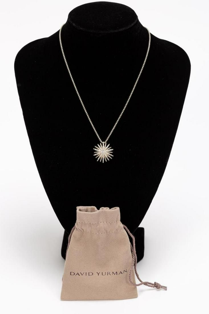 David Yurman Starburst Diamond Pendant Necklace