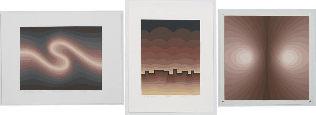 3 Optic Art Unframed Serigraphs, Roy Ahlgren