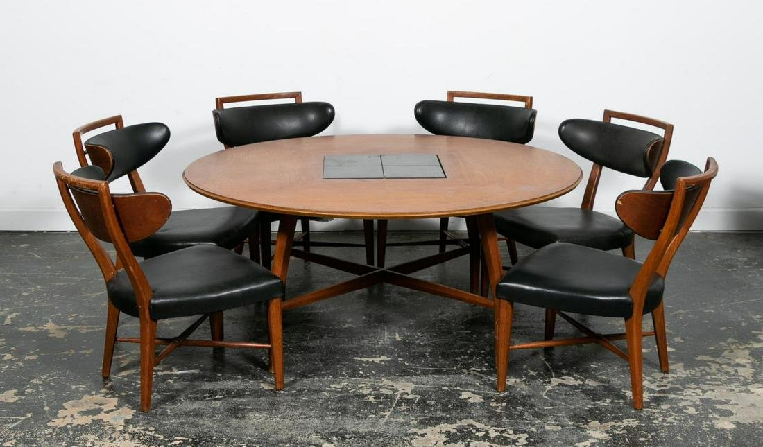 7pc Set, MCM Low Table w/ Six Chairs