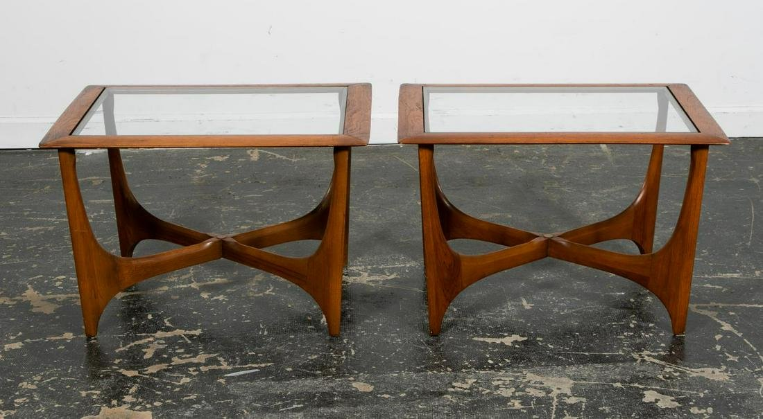 Pair, Lane Sculptural Mid Century Side Tables