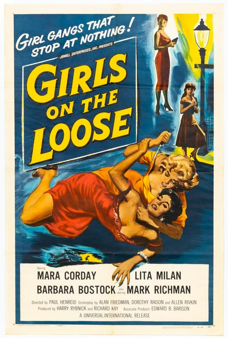 """Girls On The Loose"" 1958 Original Movie Poster"
