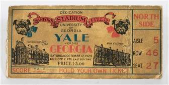 1929 UGA Sanford Opening Game Original Ticket