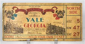 UGA Sanford Stadium Opening Game Original Ticket