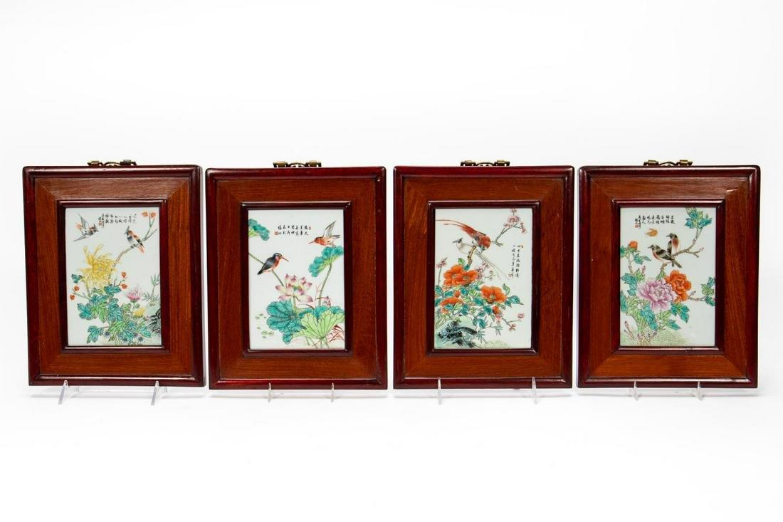 Set, Four Chinese Framed Porcelain Plaques
