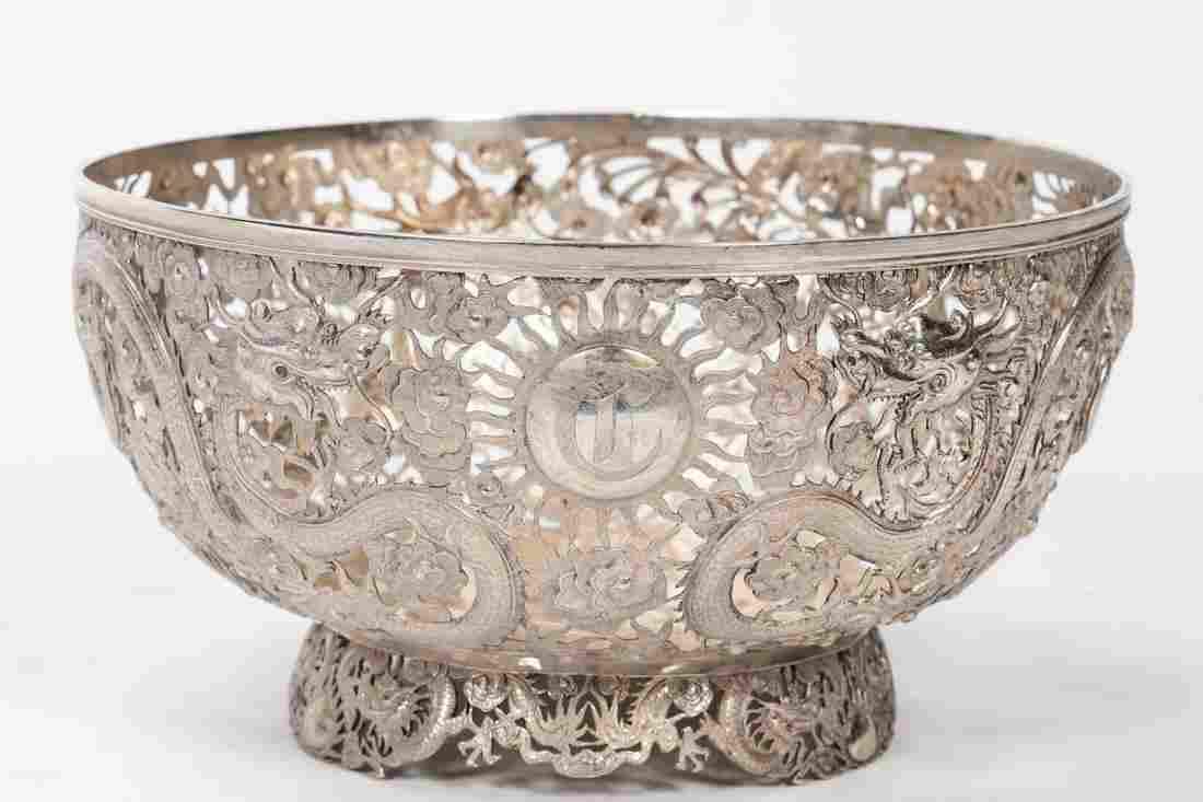 Wang Hing Chinese Export Dragon Sterling Bowl