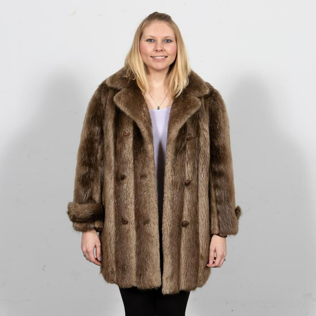 Ladies Two-tone Brown Beaver and Fox Fur Coat