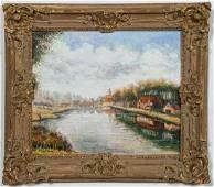 """Claude Pissarro """"Aquitaine"""" Oil on Canvas"""