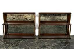 Pair Cassard Romano Mirrored Wall Display Shelves