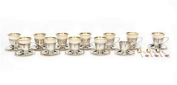 41 Pc Lenox Sterling Silver Demitasse Set