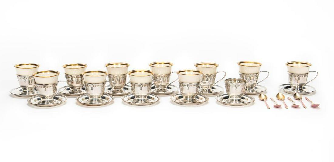 41 Pc, Lenox Sterling Silver Demitasse Set