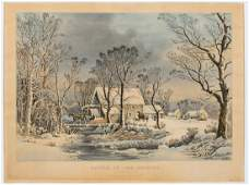Currier  Ives Winter in the Country Lithograph