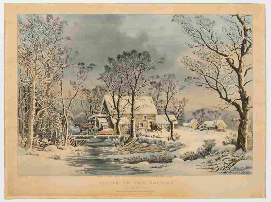 "Currier & Ives, ""Winter in the Country"" Lithograph"