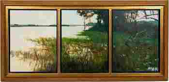William Jameson Stono River Triptych Landscape Oil