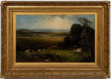 """Andrew Melrose, """"Picnic on the Hudson"""" Signed Oil"""
