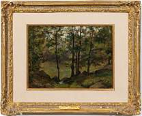 """Willard Leroy Metcalf """"Landscape With Trees"""" Oil"""