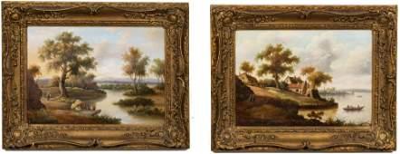 Pair 19th Century English School Oil Landscapes