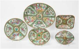 5PC 19TH C CHINESE ROSE MEDALLION TABLEWARE