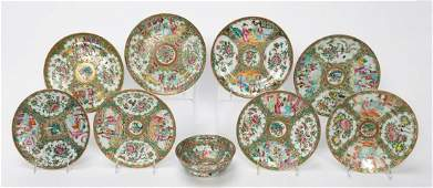 9PC 19TH C CHINESE ROSE MEDALLION TABLEWARE