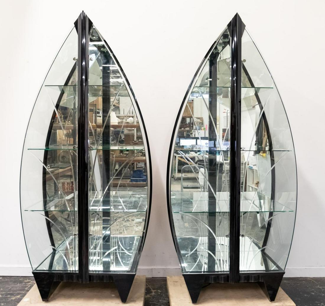 PR., CONTEMPORARY GLASS & BLACK LACQUER CABINETS