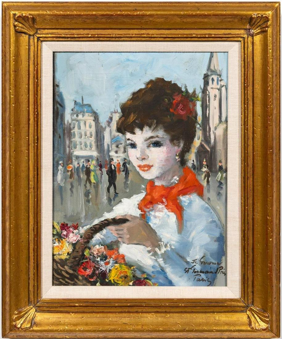 FRANCOIS GEROME, PARISIAN FLOWER GIRL, OIL