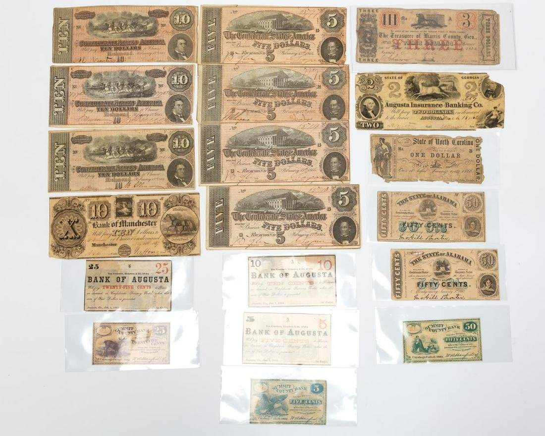 19PC OBSOLETE, FRACTIONAL & CONFEDERATE CURRENCY
