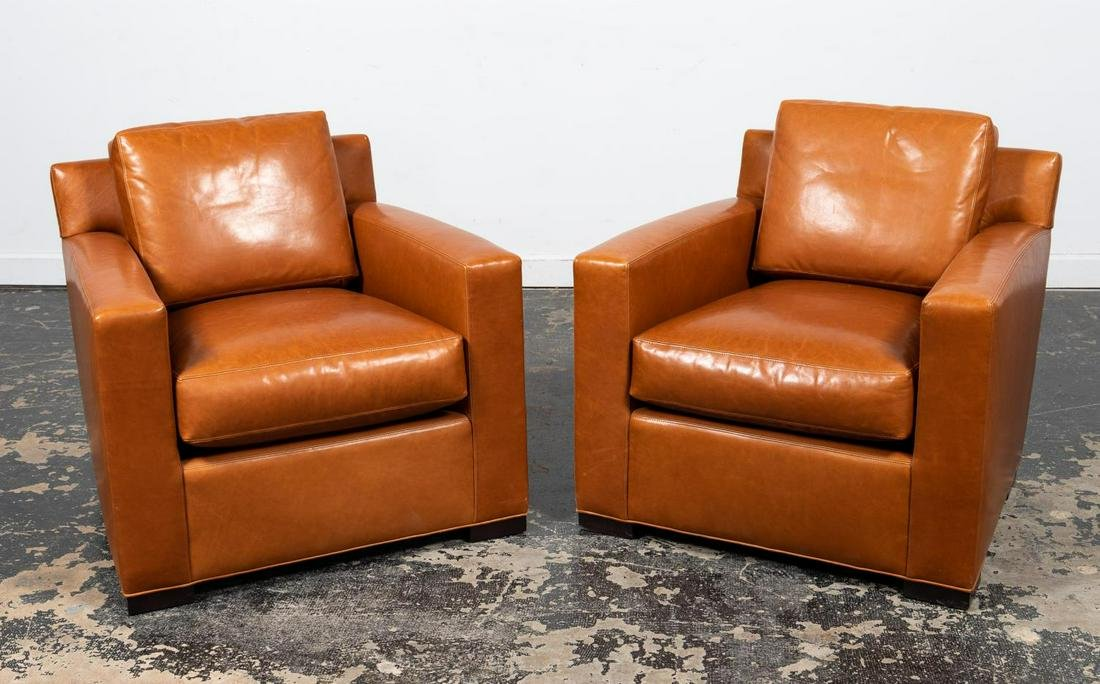 PAIR, COACH FOR BAKER BROWN LEATHER ARMCHAIRS