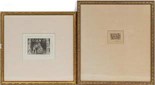 TWO, 19TH C. WHIMSICAL ETCHINGS INCLUDING JOHN KAY