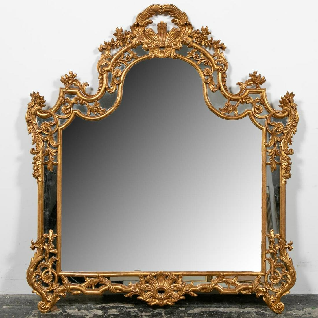 LARGE LABARGE BAROQUE STYLE GILTWOOD MIRROR