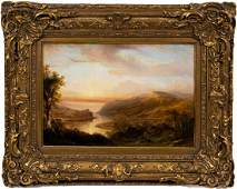 19TH C., HUDSON RIVER VALLEY SCHOOL OIL LANDSCAPE