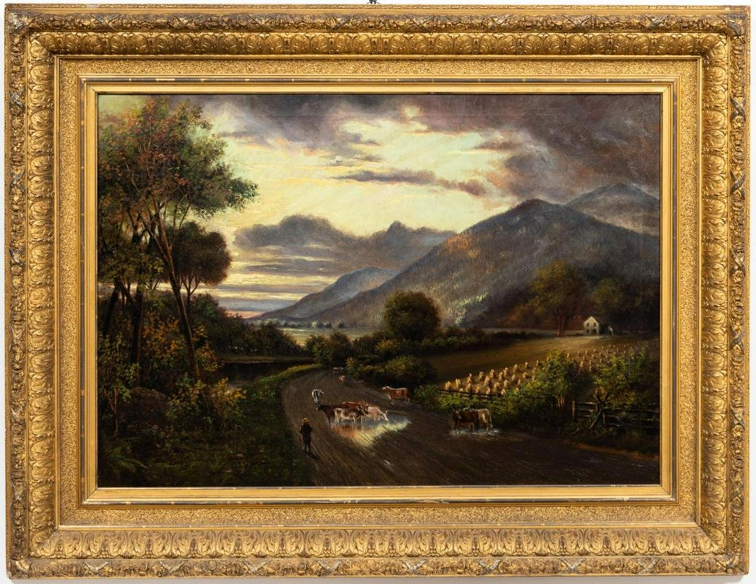 LARGE 19TH CENTURY, BUCOLIC PASTORAL OIL ON CANVAS