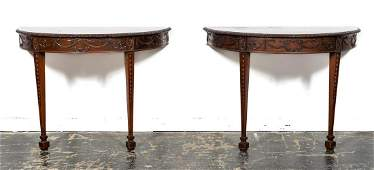 PAIR, 20TH C. ADAMS STYLE DEMILUNE CONSOLE TABLES