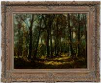 "E. 20TH C. ""FOREST TRAVEL"" OIL LANDSCAPE, SIGNED"