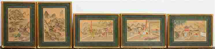 FIVE, FRAMED CHINESE FIGURAL WATERCOLORS ON SILK