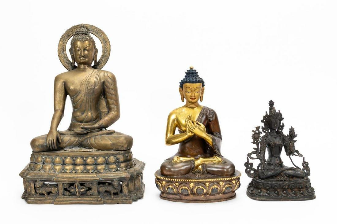 THREE, SOUTHEAST ASIAN SEATED METAL BUDDHA FIGURES
