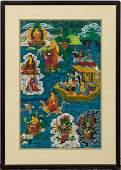 TIBETAN BUDDHIST THANGKA GOUACHE PAINTING ON SILK