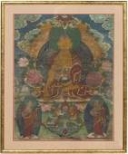 19TH C SINOTIBETAN FRAMED GOUACHE THANGKA