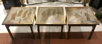 PHILIP & KELVIN LAVERNE, SET OF 3 TABLES, SIGNED
