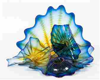 5 PC, DALE CHIHULY BLUE SEAFORM SCULPTURE, 1994