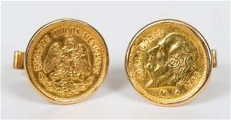 PAIR, MEN'S 14K YELLOW GOLD & GOLD COIN CUFFLINKS