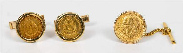 3 PC 18K YELLOW GOLD  GOLD COIN ACCESSORIES