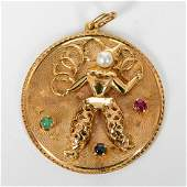 14K YELLOW GOLD & MIXED STONE CLOWN PENDANT