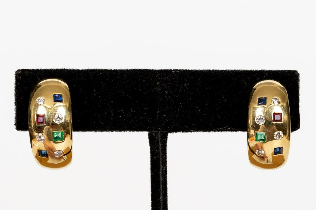 PAIR 18K GOLD & MULIT-STONE EARRINGS, HALF HOOPS