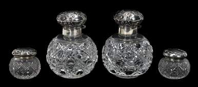 FOUR CUT GLASS  STERLING TOPPED DRESSER JARS
