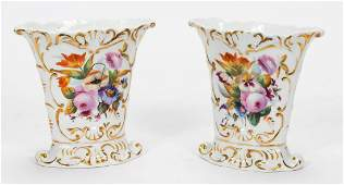 PAIR 19TH C OLD PARIS PORCELAIN FLORAL VASES