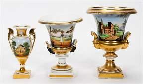 THREE 19TH CENTURY OLD PARIS PORCELAIN URNS