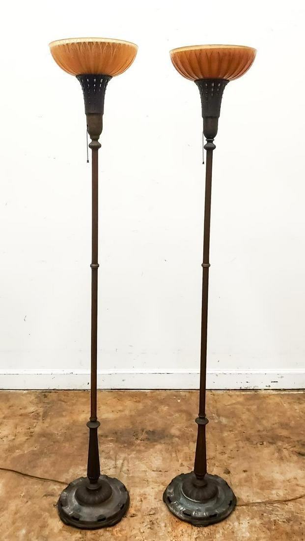 PAIR, ART DECO CAST IRON & GLASS TORCHIERE LAMPS