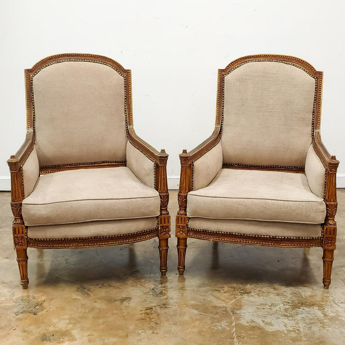 PAIR, FRENCH LOUIS XV STYLE GILT BERGERE CHAIRS